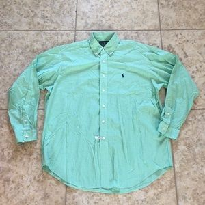 Men's green button down shirt